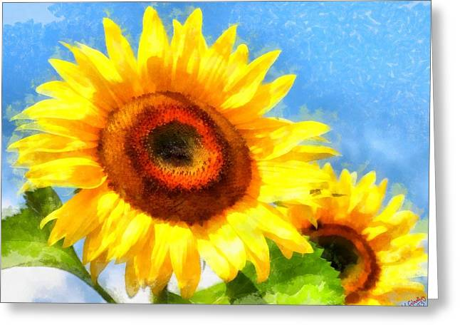 Vibrant Green Greeting Cards - Sunflower 27 Greeting Card by Victor Gladkiy