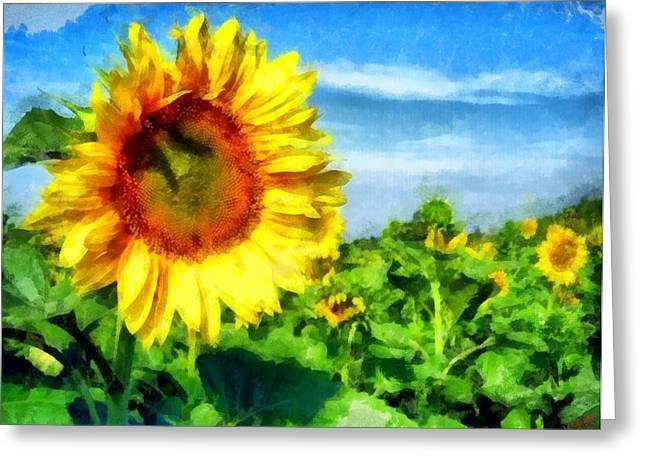 Vibrant Green Greeting Cards - Sunflower 28 Greeting Card by Victor Gladkiy