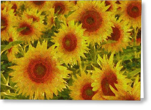 Vibrant Green Greeting Cards - Sunflower 29 Greeting Card by Victor Gladkiy