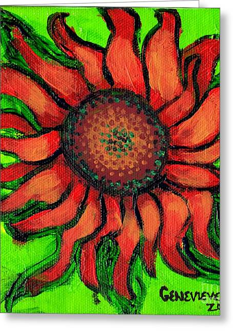 Girasol Greeting Cards - Sunflower 3 Greeting Card by Genevieve Esson