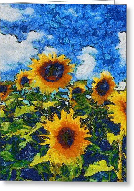 Vibrant Green Greeting Cards - Sunflower 30 Greeting Card by Victor Gladkiy