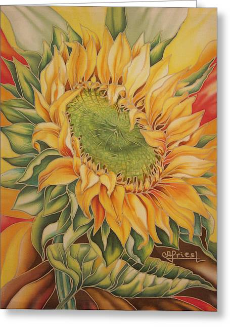 Harvest Drawings Greeting Cards - Sunflower Greeting Card by Alena Priest
