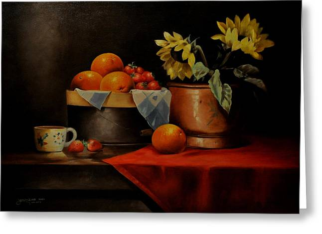Baskets Of Strawberries Greeting Cards - Sunflower and Fruits Greeting Card by Epifanio jr Mendoza