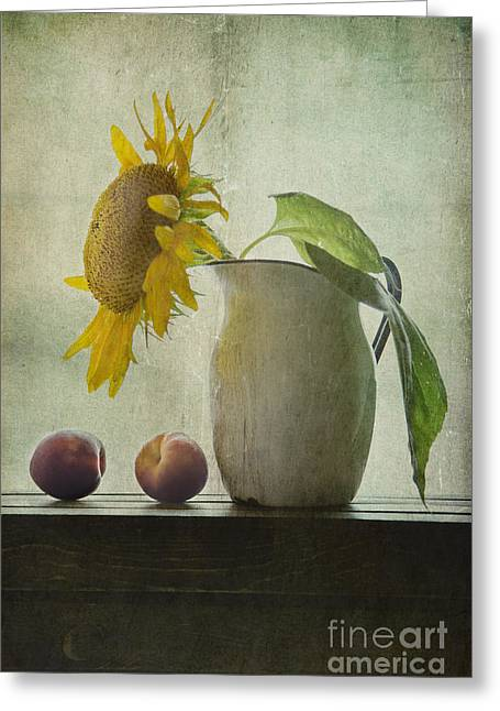 Yellow Sunflower Greeting Cards - Sunflower And Peaches Greeting Card by Elena Nosyreva