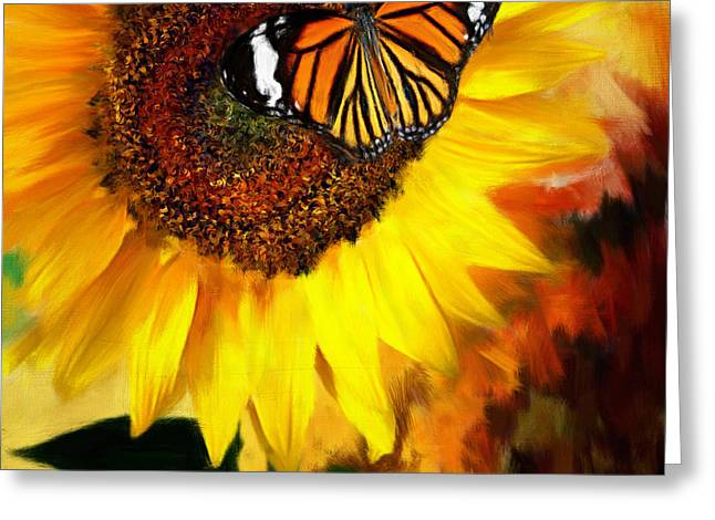 Sunflower Art Greeting Cards - Sunflower And Butterfly Painting Greeting Card by Lourry Legarde