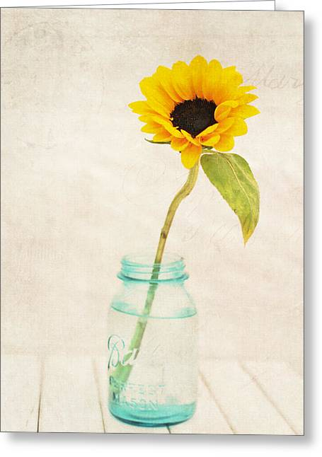 Sunflower Joy Greeting Cards - Sunflower Ball Mason Greeting Card by Terry DeLuco