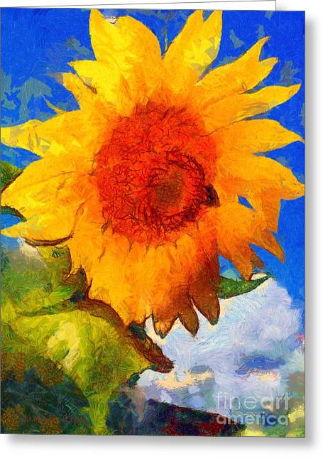 Girasol Greeting Cards - Sunflower - Bee happy Greeting Card by Janine Riley
