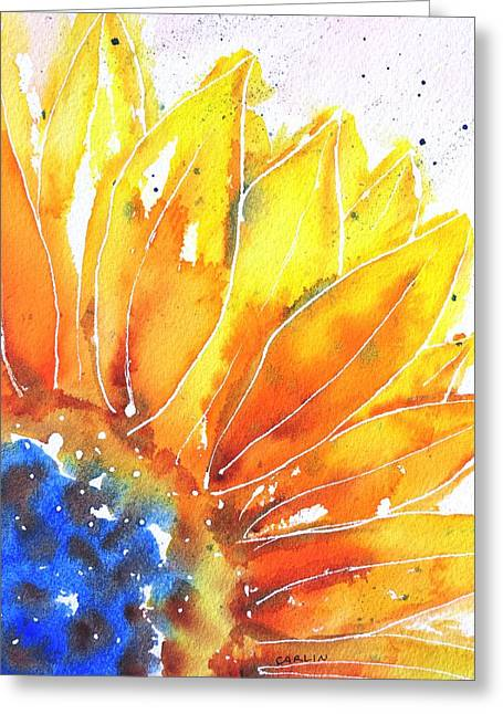 Recently Sold -  - Loose Greeting Cards - Sunflower Blue Orange and Yellow Greeting Card by Carlin Blahnik