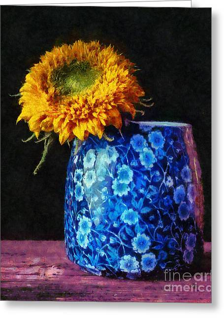 Flower Pictures Greeting Cards - Sunflower Blue  Pitchers Greeting Card by Edward Fielding