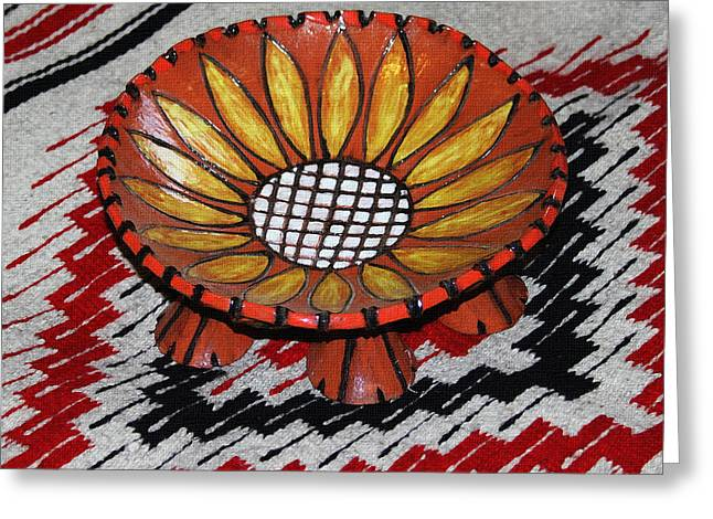 Bowl Ceramics Greeting Cards - Sunflower Bowl On Rug Greeting Card by Tom Janca