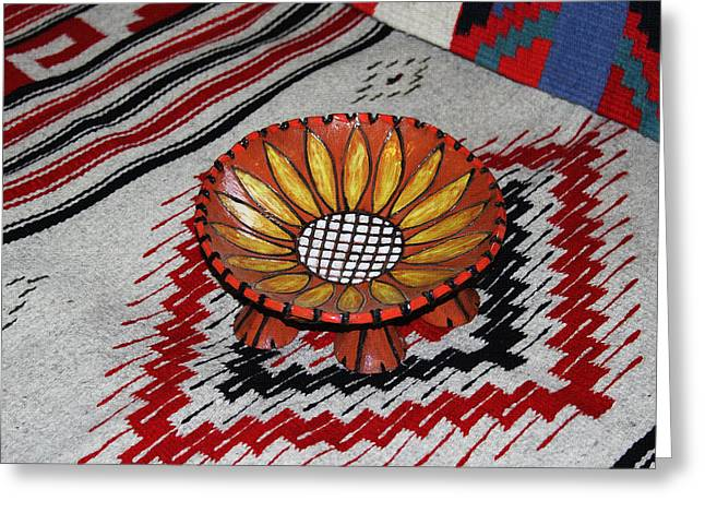 Bowl Ceramics Greeting Cards - Sunflower Bowl  Greeting Card by Tom Janca