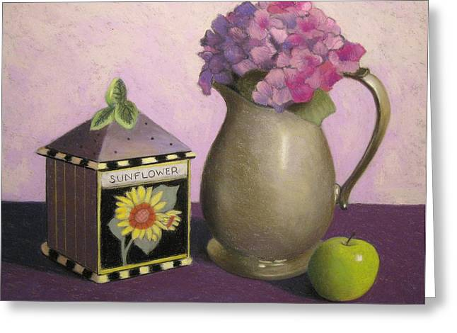 Flower Boxes Pastels Greeting Cards - Sunflower Box Greeting Card by Susan Goldstein Monahan