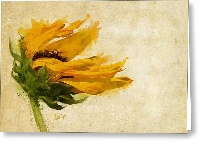 Yellow Sunflower Digital Greeting Cards - Sunflower Breezes Greeting Card by Nikki Marie Smith
