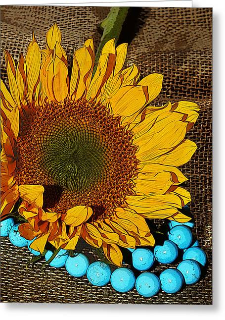 Interior Still Life Digital Greeting Cards - Sunflower Burlap And Turquoise Greeting Card by Phyllis Denton