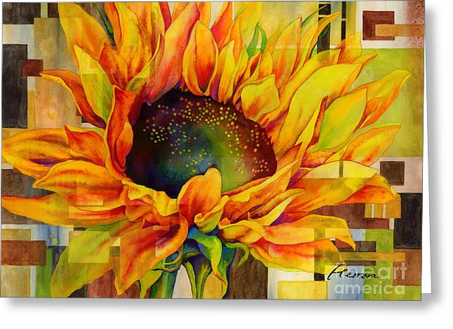 Macro Paintings Greeting Cards - Sunflower Canopy Greeting Card by Hailey E Herrera