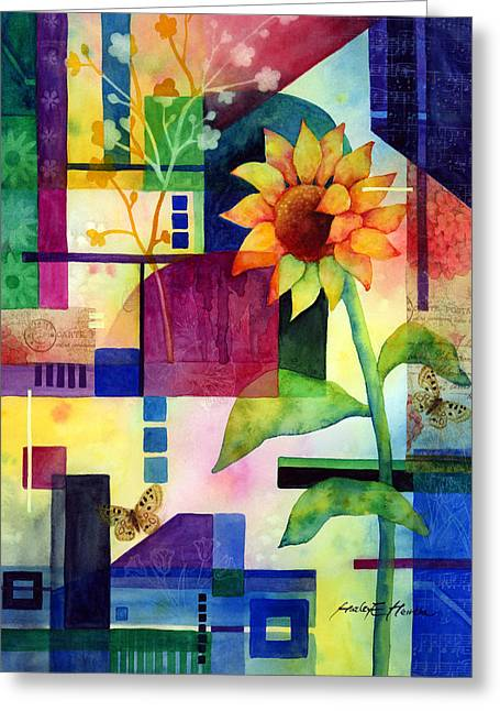 Floral Art Paintings Greeting Cards - Sunflower Collage 2 Greeting Card by Hailey E Herrera