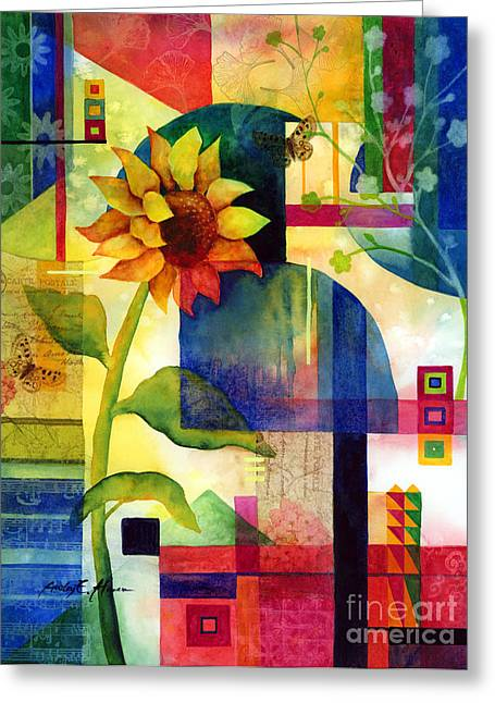 Floral Art Paintings Greeting Cards - Sunflower Collage Greeting Card by Hailey E Herrera