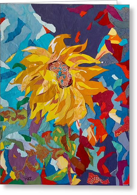 Kat Mixed Media Greeting Cards - Sunflower Collage Greeting Card by Kat Ebert