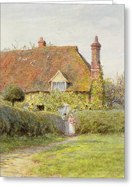 Charming Cottage Greeting Cards - Sunflower Cottage Greeting Card by Helen Allingham