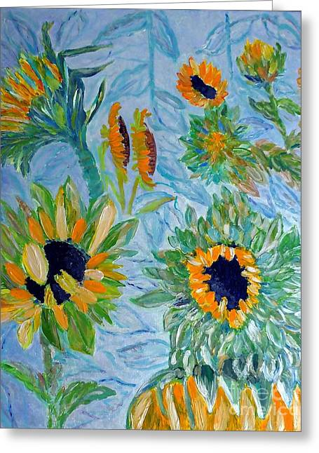 Yellow Sunflower Reliefs Greeting Cards - Sunflower Cycle of Life 1 Greeting Card by Vicky Tarcau