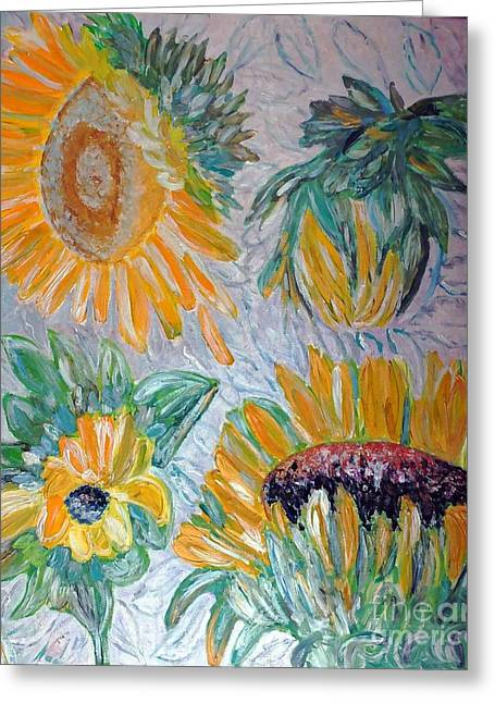 Decorative Reliefs Greeting Cards - Sunflower Cycle of Life 2 Greeting Card by Vicky Tarcau