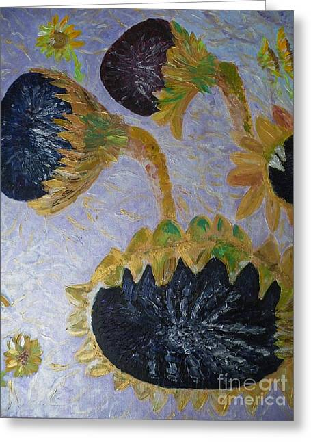 Impressionism Reliefs Greeting Cards - Sunflower Cycle of Life 3 Greeting Card by Vicky Tarcau