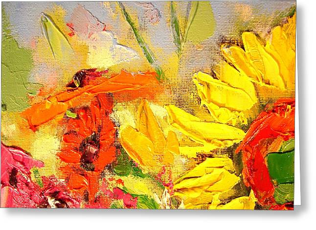 Yellow Sunflower Greeting Cards - Sunflower Detail Greeting Card by Ana Maria Edulescu