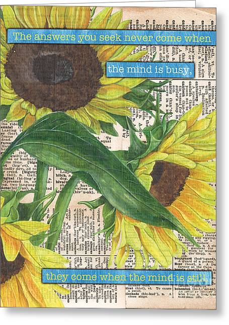 Mind Paintings Greeting Cards - Sunflower Dictionary 1 Greeting Card by Debbie DeWitt