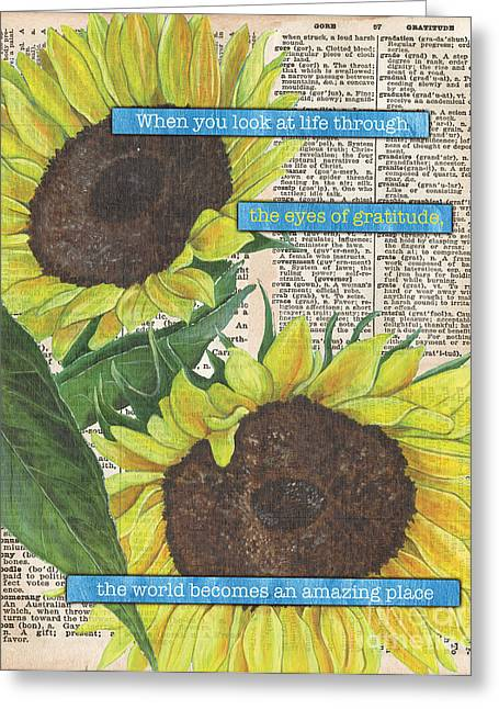 Old Paintings Greeting Cards - Sunflower Dictionary 2 Greeting Card by Debbie DeWitt