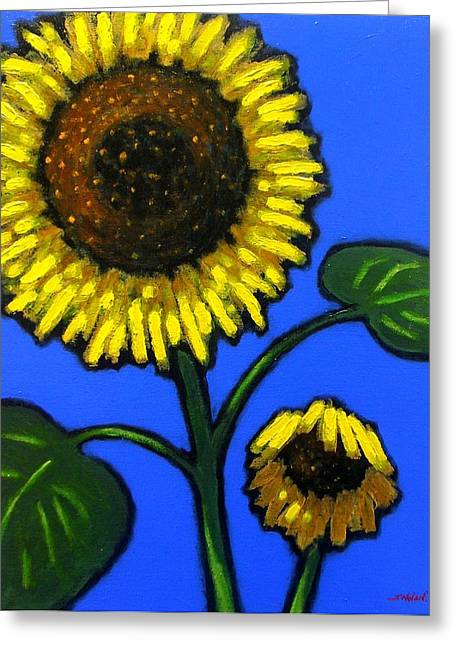 Flowers Framed Prints Greeting Cards - Sunflower Duet Greeting Card by John  Nolan