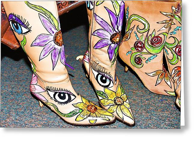 Boots Digital Art Greeting Cards - Sunflower Eyes Greeting Card by Audreen Gieger-Hawkins