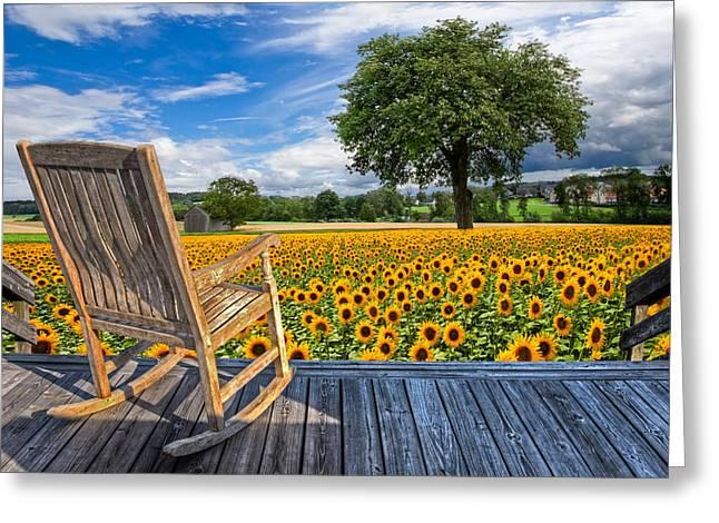 Sunflower Farm Greeting Card by Debra and Dave Vanderlaan