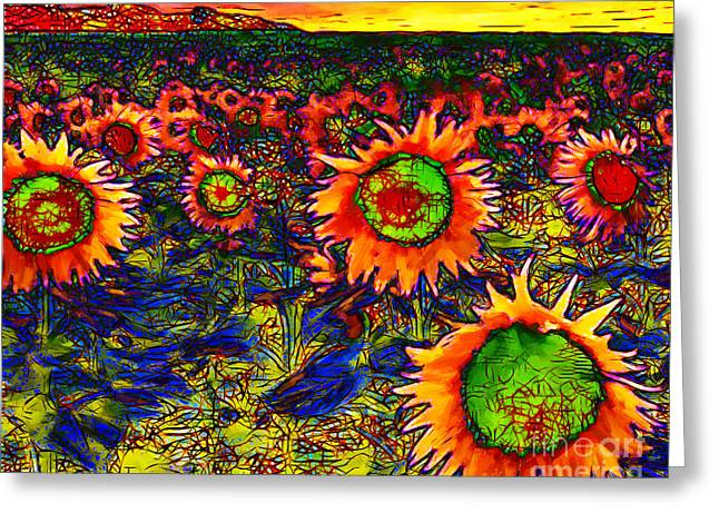 Energize Greeting Cards - Sunflower Field 20130730 horizontal Greeting Card by Wingsdomain Art and Photography