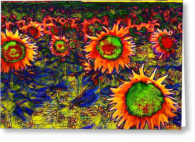 Energize Greeting Cards - Sunflower Field 20130730 square Greeting Card by Wingsdomain Art and Photography