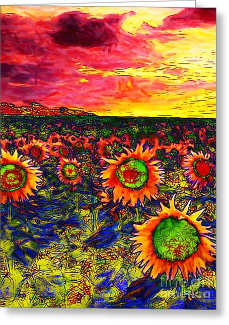 Energize Greeting Cards - Sunflower Field 20130730 vertical Greeting Card by Wingsdomain Art and Photography