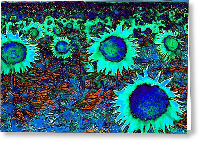 Energize Greeting Cards - Sunflower Field 20130730p150 square Greeting Card by Wingsdomain Art and Photography