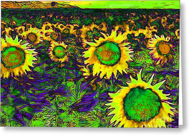 Energize Greeting Cards - Sunflower Field 20130730p35 horizontal Greeting Card by Wingsdomain Art and Photography