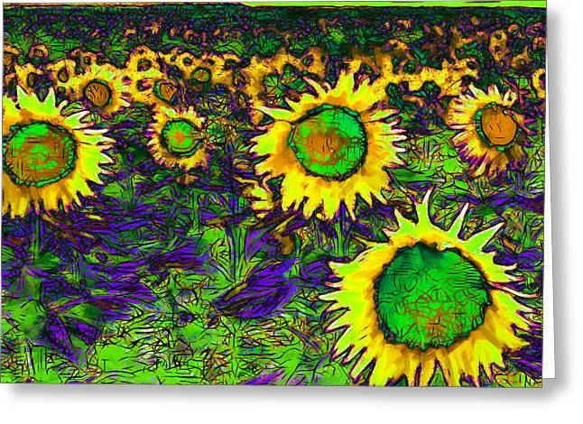 Firey Greeting Cards - Sunflower Field 20130730p35 square Greeting Card by Wingsdomain Art and Photography