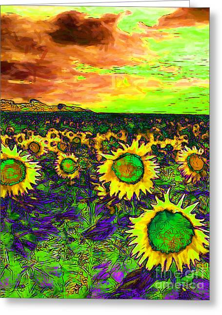 Energize Greeting Cards - Sunflower Field 20130730p35 vertical Greeting Card by Wingsdomain Art and Photography
