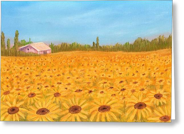 Rural Landscapes Pastels Greeting Cards - Sunflower Field Greeting Card by Anastasiya Malakhova