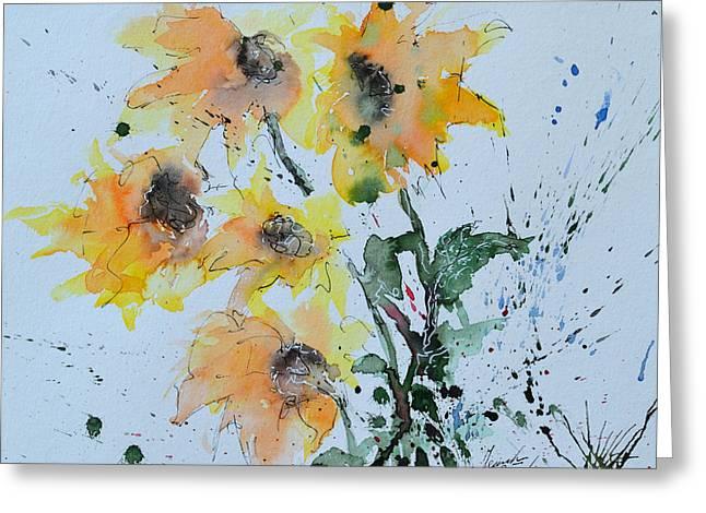 Ismeta Paintings Greeting Cards - Sunflower- Flower Painting Greeting Card by Ismeta Gruenwald