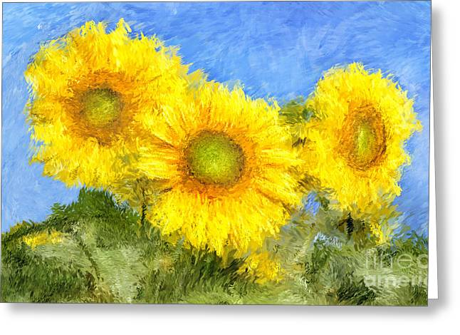 Van Gogh Style Drawings Greeting Cards - Sunflower Flowers Painting Greeting Card by Giuseppe Persichino