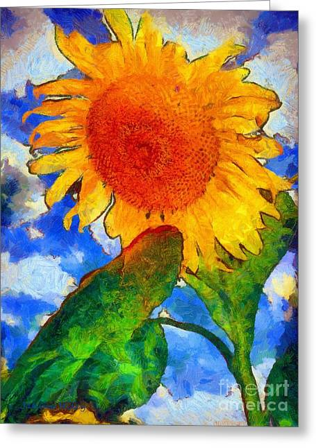 Girasol Greeting Cards - Sunflower - from heaven above Greeting Card by Janine Riley