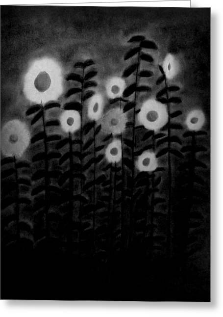 Kids Room Pastels Greeting Cards - Sunflower Garden bw Greeting Card by Elizabeth Sullivan