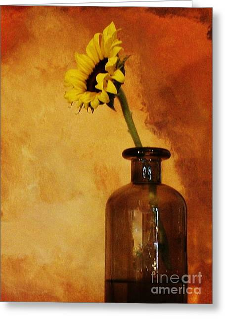 Seaglass Greeting Cards - Sunflower in a Brown Bottle Greeting Card by Marsha Heiken