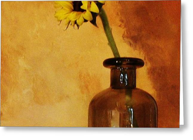 Sunflower in a Brown Bottle Greeting Card by Marsha Heiken