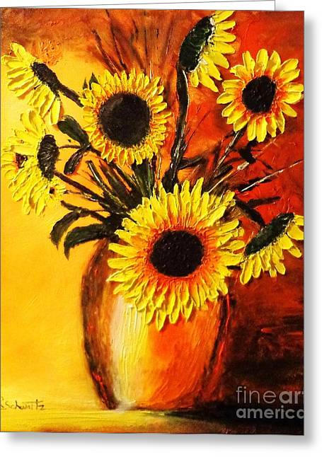 Pallet Knife Greeting Cards - Sunflower in an Orange Light Greeting Card by Raymond Schwartz