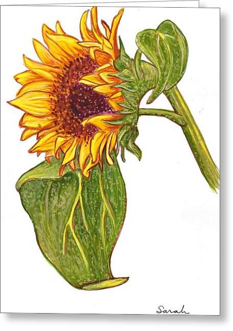 Sarah Loft Paintings Greeting Cards - Sunflower in Gouache Greeting Card by Sarah Loft