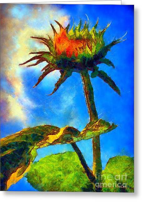 Girasol Greeting Cards - Sunflower - its a glorious day she said. Greeting Card by Janine Riley