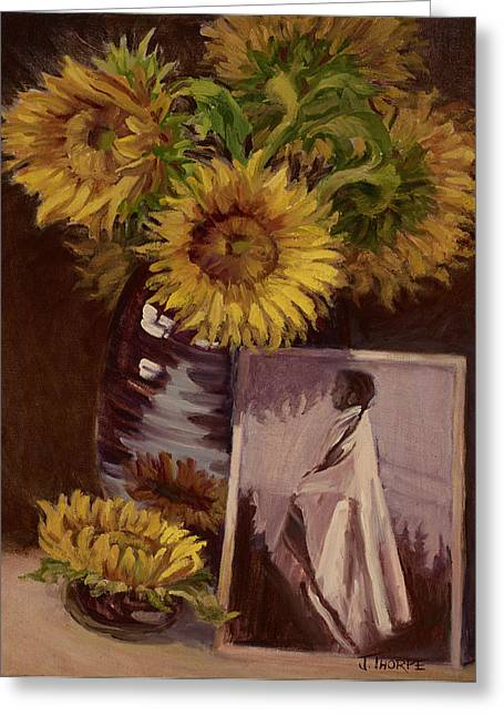 Indian Vase Greeting Cards - Sunflower Greeting Card by Jane Thorpe